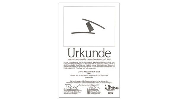Auszeichnung mit dem Innovationspreis der deutschen Wirtschaft (präTEC)