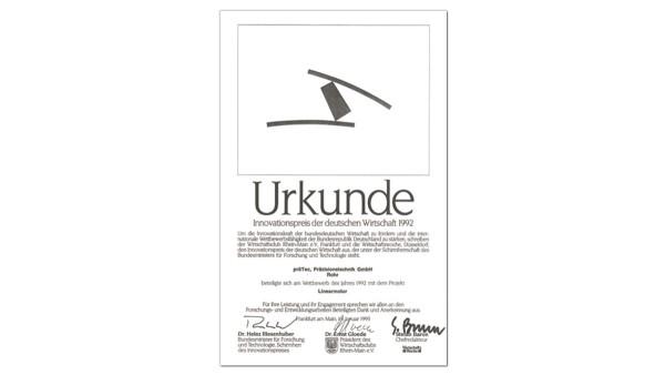 Receipt of German Industry Innovation Award (präTEC)